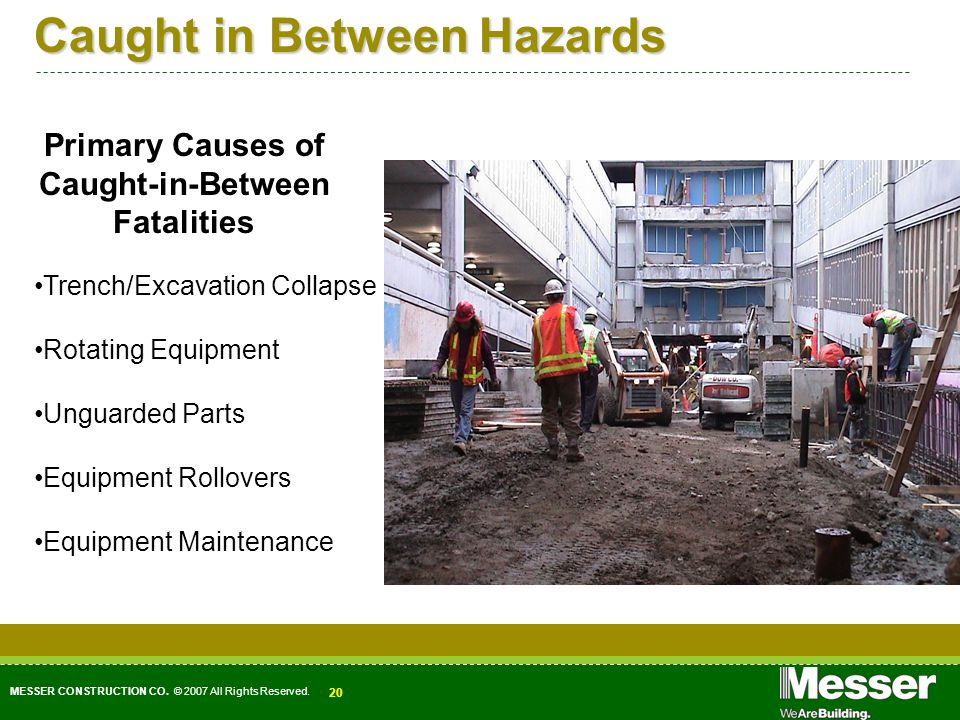 MESSER CONSTRUCTION CO. © 2007 All Rights Reserved. 20 Caught in Between Hazards Primary Causes of Caught-in-Between Fatalities Trench/Excavation Coll