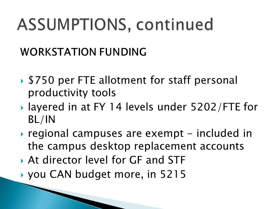 WORKSTATION FUNDING $750 per FTE allotment for staff personal productivity tools layered in at FY 14 levels under 5202/FTE for BL/IN regional campuses are exempt - included in the campus desktop replacement accounts At director level for GF and STF you CAN budget more, in 5215
