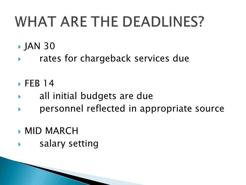 JAN 30 rates for chargeback services due FEB 14 all initial budgets are due personnel reflected in appropriate source MID MARCH salary setting