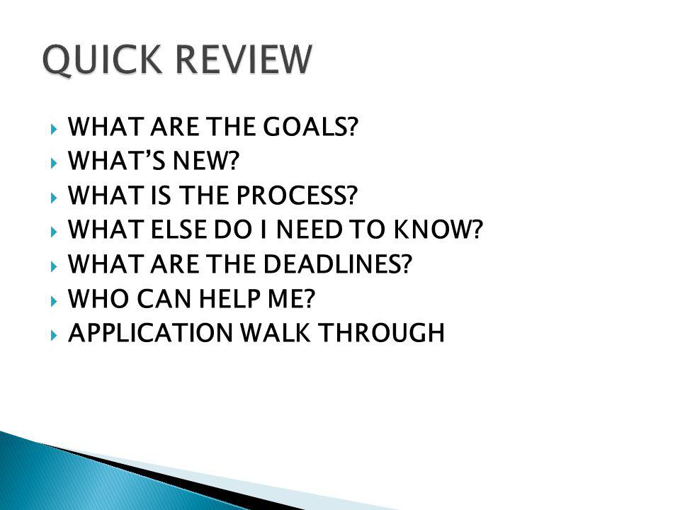 WHAT ARE THE GOALS? WHATS NEW? WHAT IS THE PROCESS? WHAT ELSE DO I NEED TO KNOW? WHAT ARE THE DEADLINES? WHO CAN HELP ME? APPLICATION WALK THROUGH
