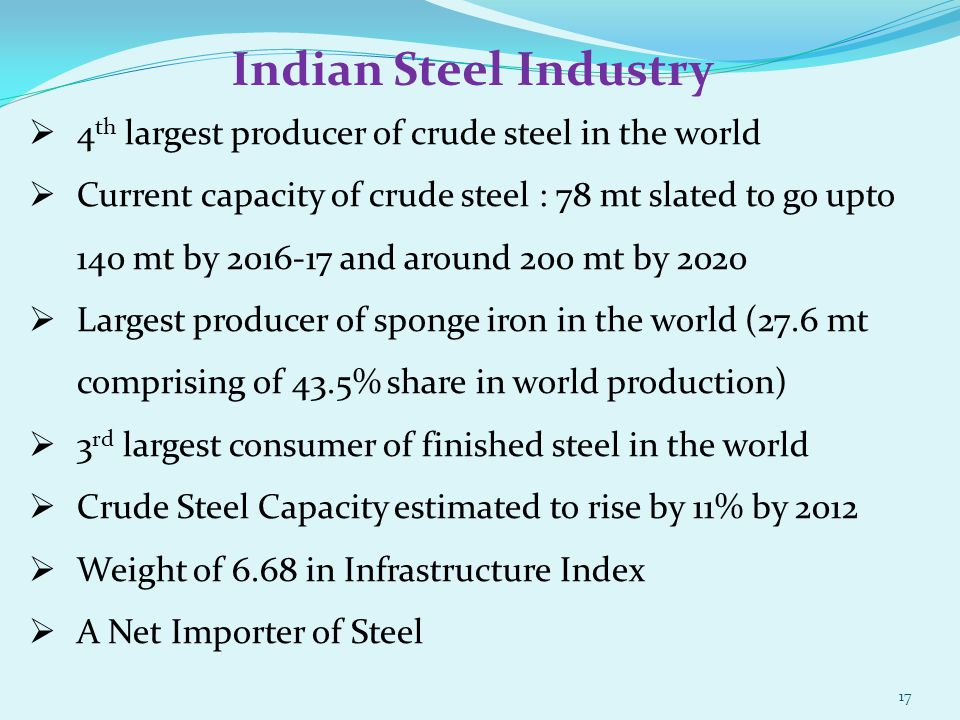 4 th largest producer of crude steel in the world Current capacity of crude steel : 78 mt slated to go upto 140 mt by 2016-17 and around 200 mt by 202