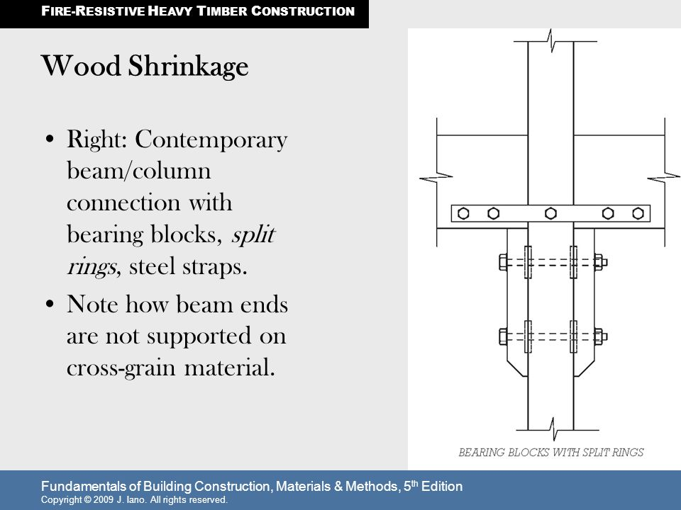 Fundamentals of Building Construction, Materials & Methods, 5 th Edition Copyright © 2009 J. Iano. All rights reserved. Wood Shrinkage Right: Contempo