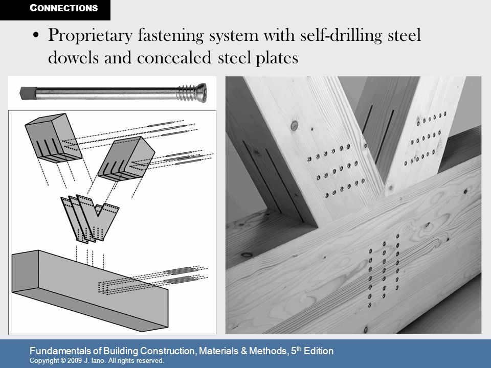 Fundamentals of Building Construction, Materials & Methods, 5 th Edition Copyright © 2009 J. Iano. All rights reserved. Proprietary fastening system w