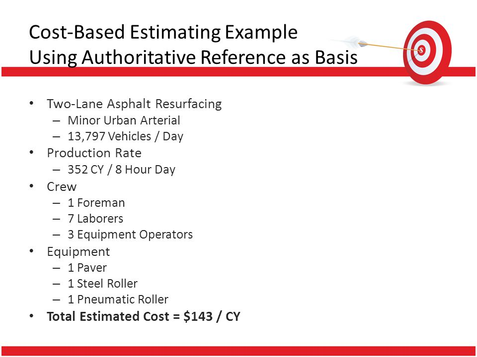 Cost-Based Estimating Example Using Authoritative Reference as Basis Two-Lane Asphalt Resurfacing – Minor Urban Arterial – 13,797 Vehicles / Day Produ