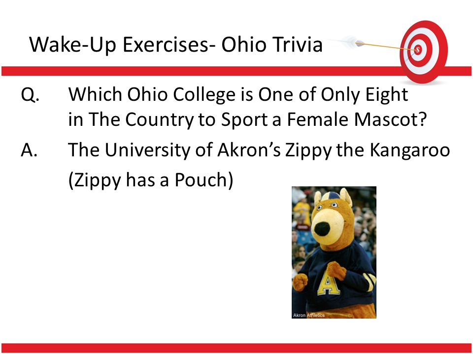Wake-Up Exercises- Ohio Trivia Q.Which Ohio College is One of Only Eight in The Country to Sport a Female Mascot? A.The University of Akrons Zippy the