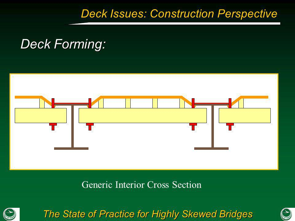 The State of Practice for Highly Skewed Bridges Deck Issues: Construction Perspective Deck Forming: Generic Interior Cross Section