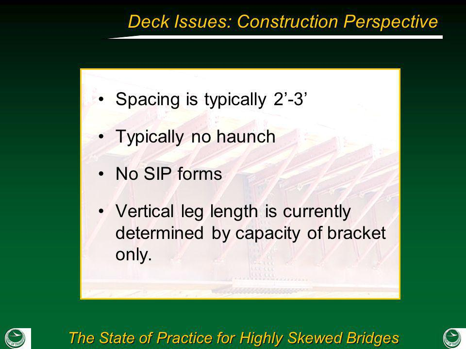 The State of Practice for Highly Skewed Bridges Deck Issues: Construction Perspective Spacing is typically 2-3 Typically no haunch No SIP forms Vertic