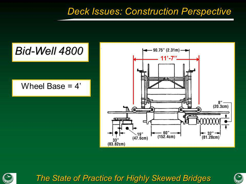 The State of Practice for Highly Skewed Bridges Deck Issues: Construction Perspective Wheel Base = 4 11-7 Bid-Well 4800