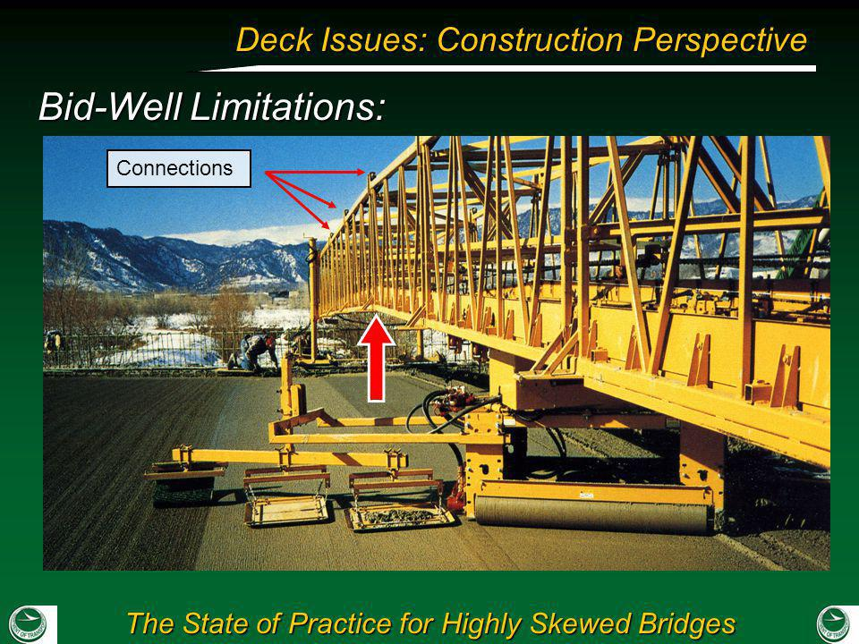 The State of Practice for Highly Skewed Bridges Deck Issues: Construction Perspective Bid-Well Limitations: Connections