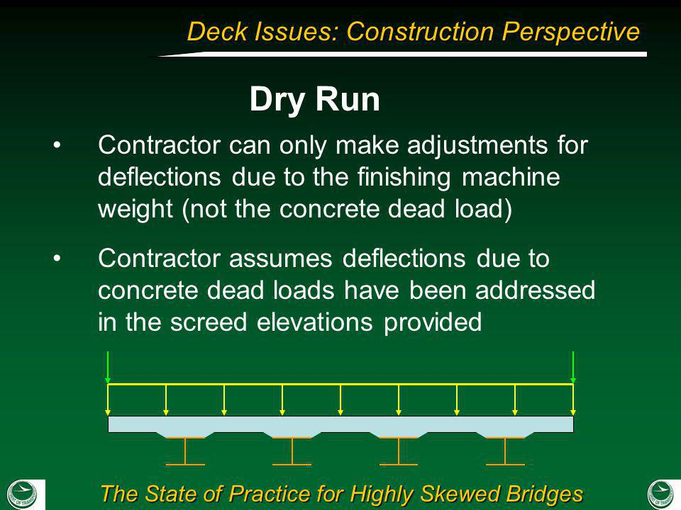 The State of Practice for Highly Skewed Bridges Deck Issues: Construction Perspective Contractor can only make adjustments for deflections due to the