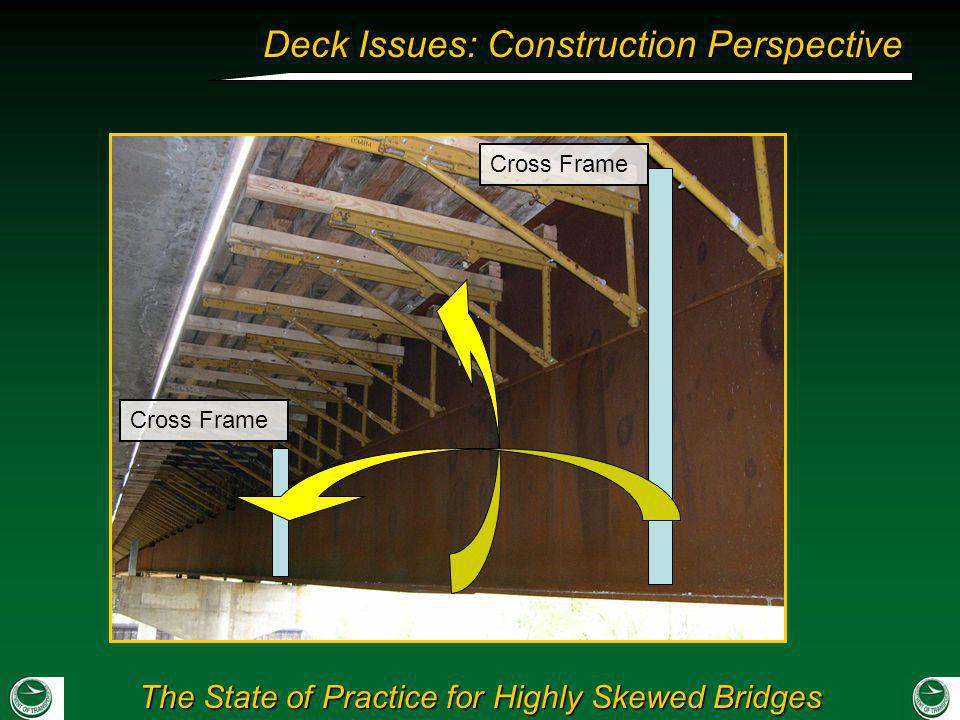 The State of Practice for Highly Skewed Bridges Deck Issues: Construction Perspective Cross Frame