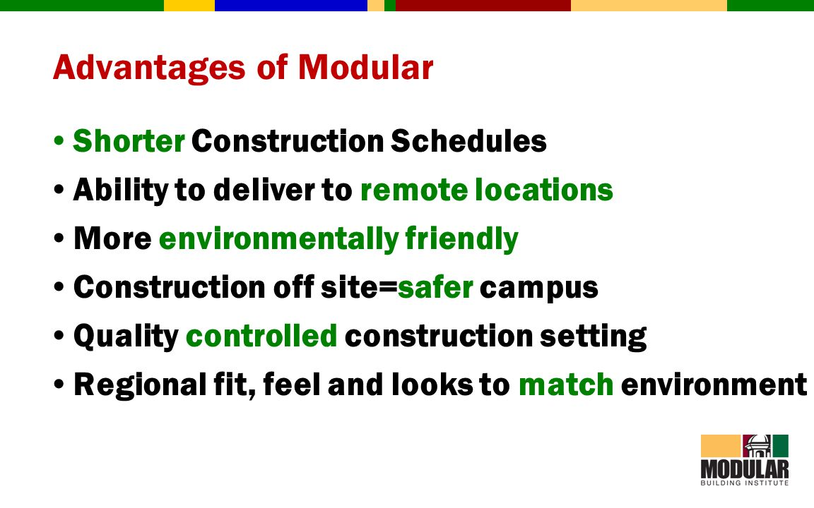 Advantages of Modular Shorter Construction Schedules Ability to deliver to remote locations More environmentally friendly Construction off site=safer