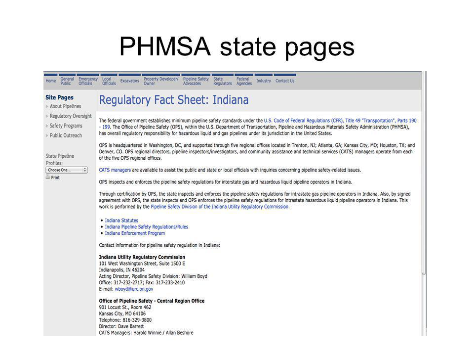 PHMSA state pages