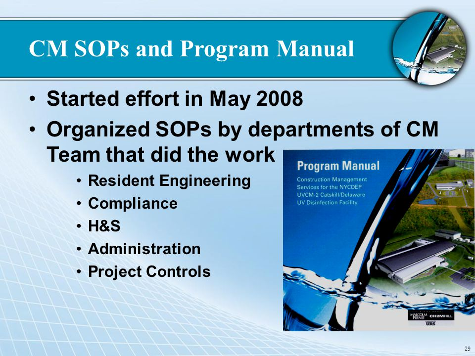 CM SOPs and Program Manual Started effort in May 2008 Organized SOPs by departments of CM Team that did the work Resident Engineering Compliance H&S A
