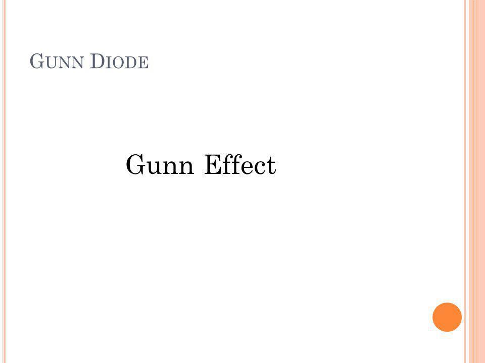 G UNN D IODE Gunn Effect