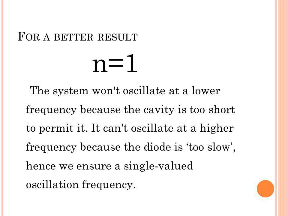 F OR A BETTER RESULT n=1 The system won't oscillate at a lower frequency because the cavity is too short to permit it. It can't oscillate at a higher