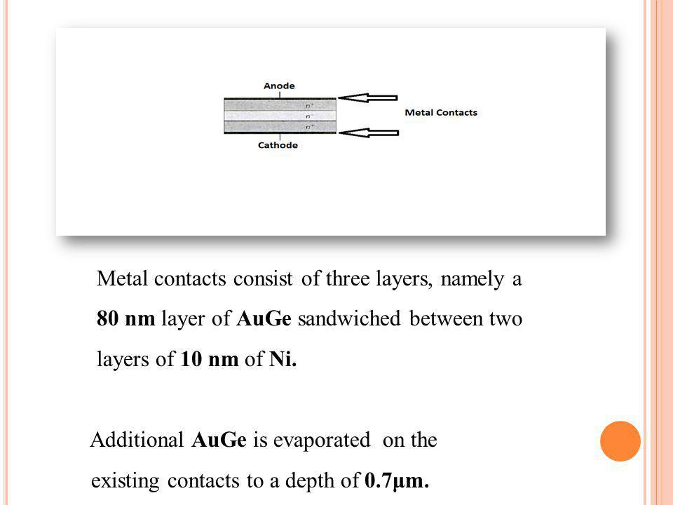 Metal contacts consist of three layers, namely a 80 nm layer of AuGe sandwiched between two layers of 10 nm of Ni. Additional AuGe is evaporated on th