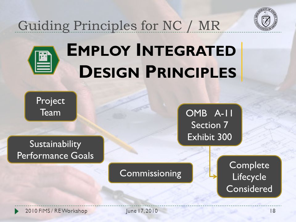 Guiding Principles for NC / MR June 17, 20102010 FIMS / RE Workshop18 E MPLOY I NTEGRATED D ESIGN P RINCIPLES Project Team OMB A-11 Section 7 Exhibit 300 Sustainability Performance Goals Complete Lifecycle Considered Commissioning