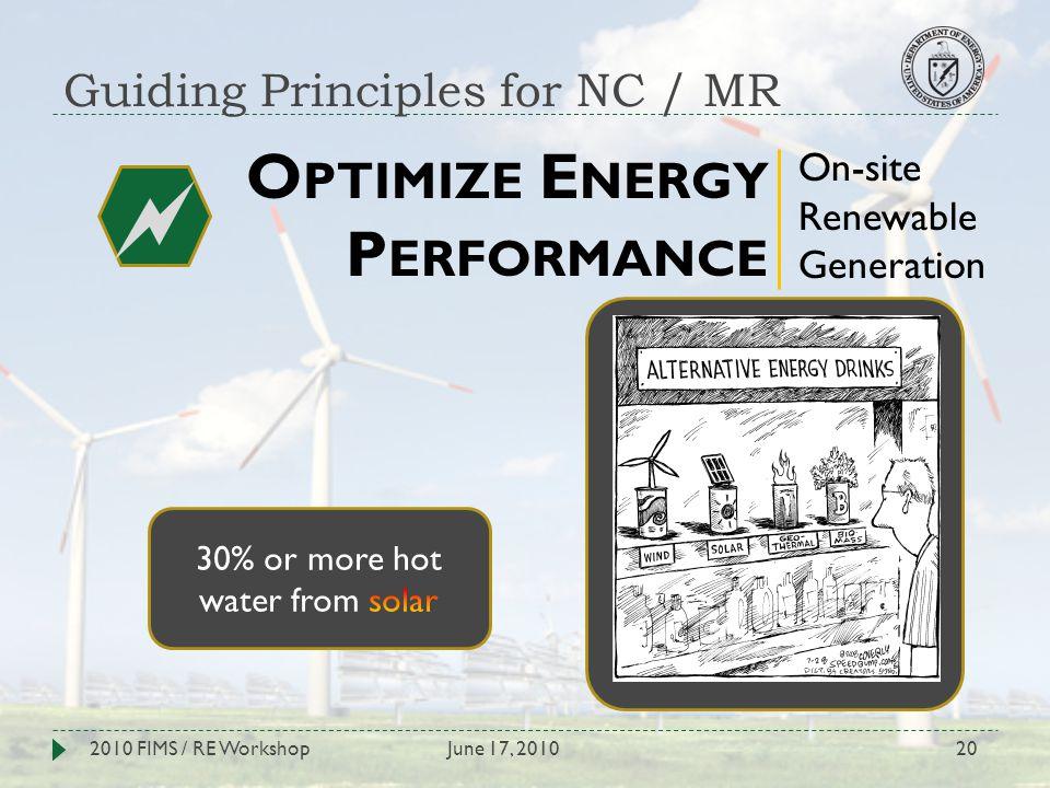Guiding Principles for NC / MR June 17, 20102010 FIMS / RE Workshop20 O PTIMIZE E NERGY P ERFORMANCE On-site Renewable Generation