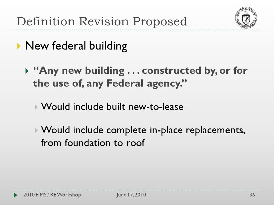 Definition Revision Proposed June 17, 20102010 FIMS / RE Workshop36 New federal building Any new building...