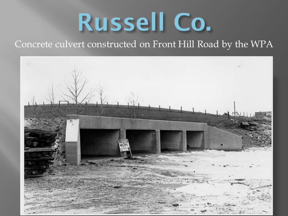 Concrete culvert constructed on Front Hill Road by the WPA