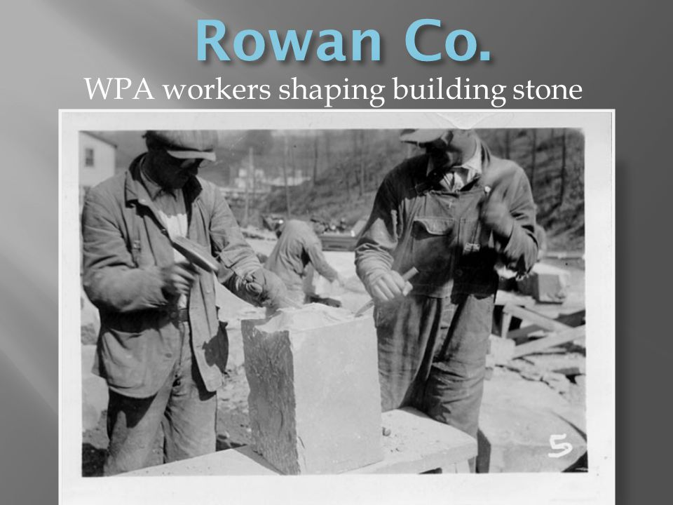 WPA workers shaping building stone