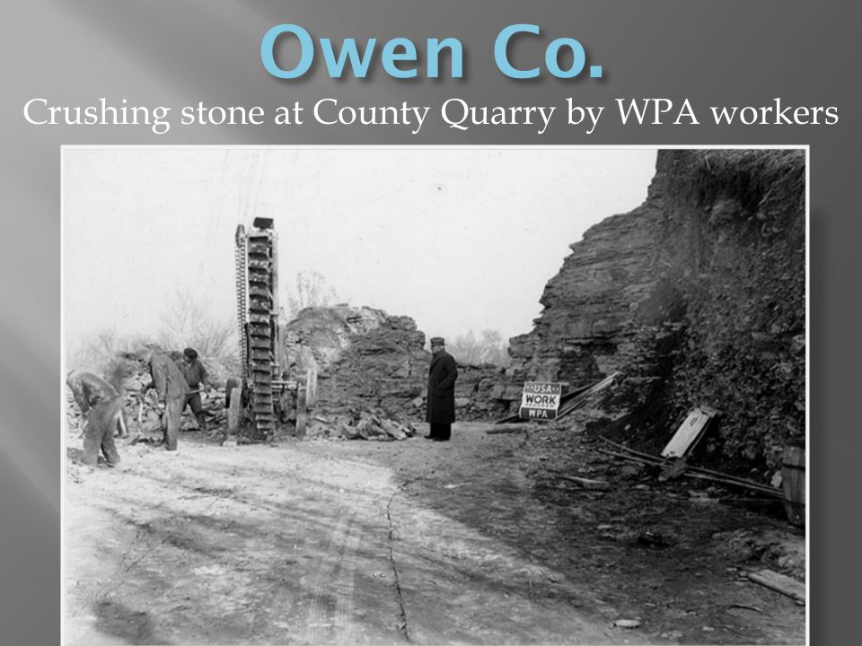 Crushing stone at County Quarry by WPA workers