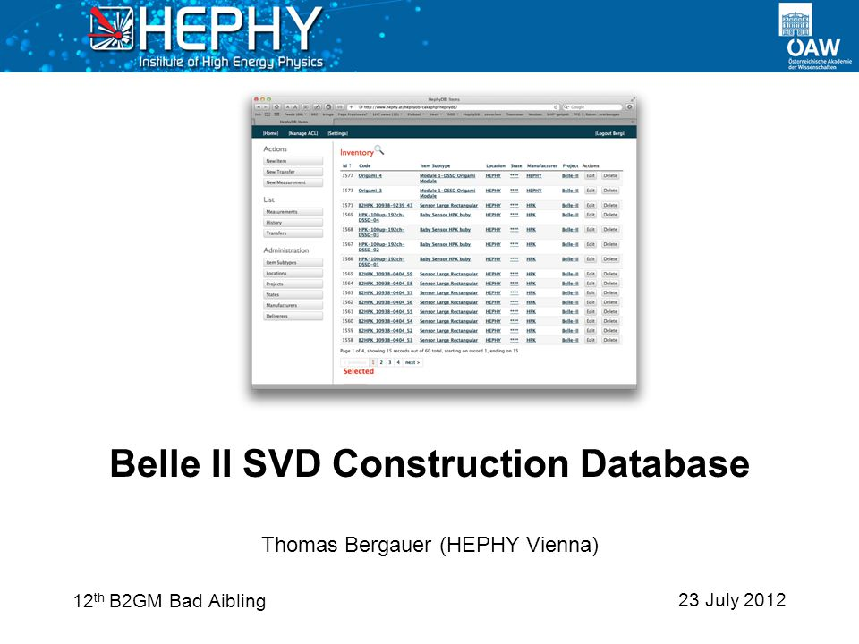 23 July 2012 Thomas Bergauer (HEPHY Vienna) Belle II SVD Construction Database 12 th B2GM Bad Aibling