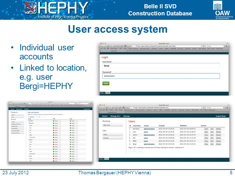 Belle II SVD Construction Database User access system Individual user accounts Linked to location, e.g.