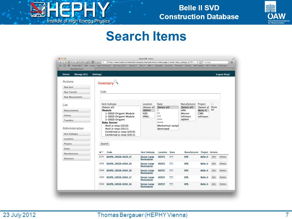 Belle II SVD Construction Database Search Items 7Thomas Bergauer (HEPHY Vienna)23 July 2012