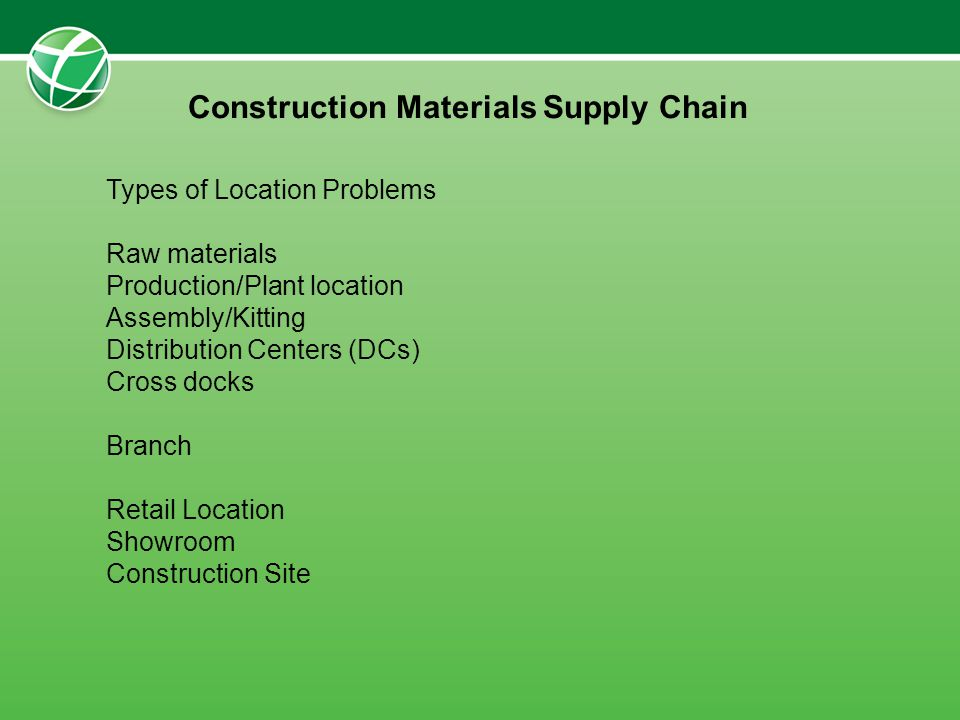 Types of Location Problems Raw materials Production/Plant location Assembly/Kitting Distribution Centers (DCs) Cross docks Branch Retail Location Show