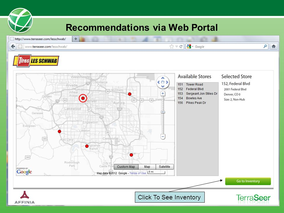Recommendations via Web Portal Click To See Inventory