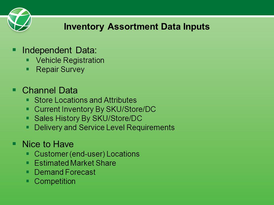 Independent Data: Vehicle Registration Repair Survey Channel Data Store Locations and Attributes Current Inventory By SKU/Store/DC Sales History By SK