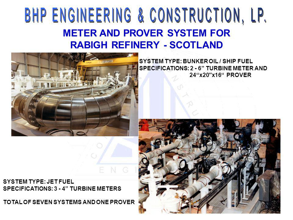 METER AND PROVER SYSTEM FOR RABIGH REFINERY - SCOTLAND SYSTEM TYPE: BUNKER OIL / SHIP FUEL SPECIFICATIONS: 2 - 6 TURBINE METER AND 24x20