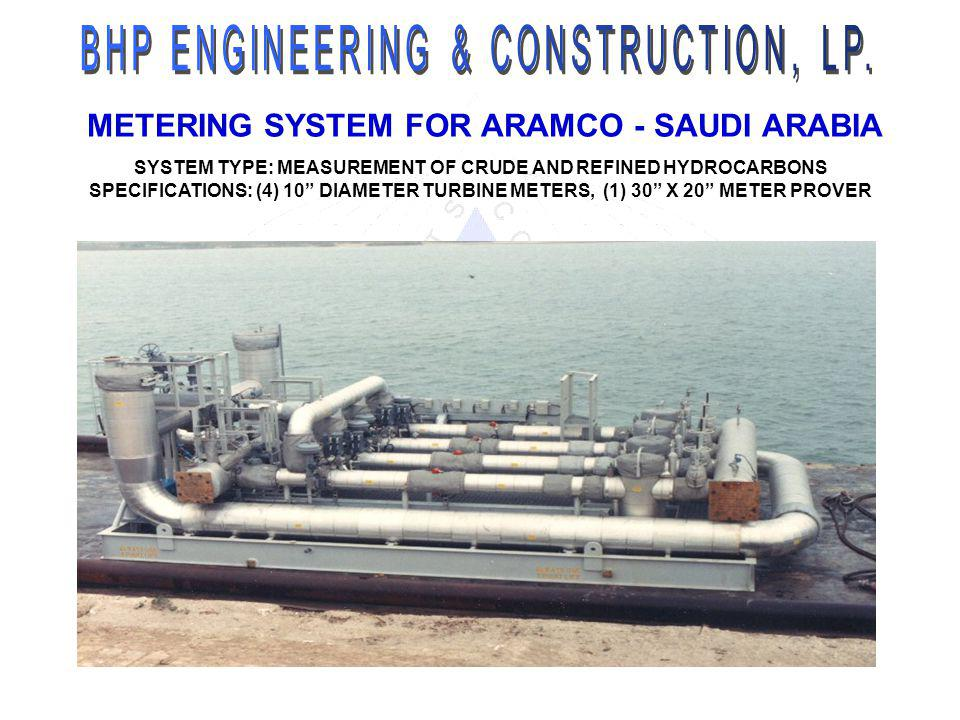 METERING SYSTEM FOR ARAMCO - SAUDI ARABIA SYSTEM TYPE: MEASUREMENT OF CRUDE AND REFINED HYDROCARBONS SPECIFICATIONS: (4) 10 DIAMETER TURBINE METERS, (