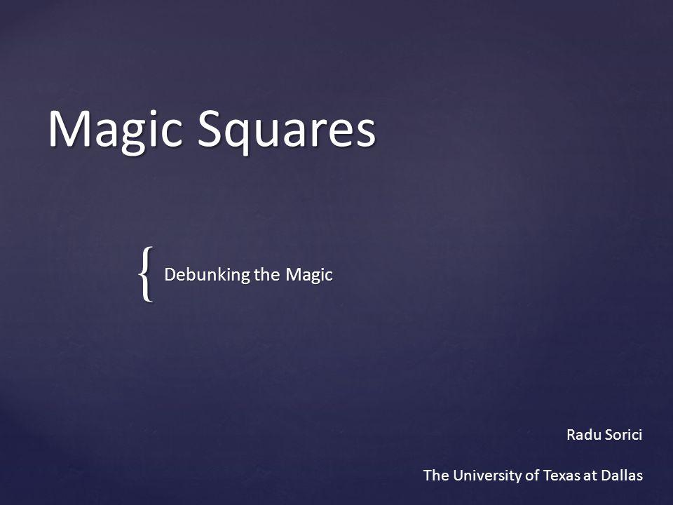 Types of Magic Squares