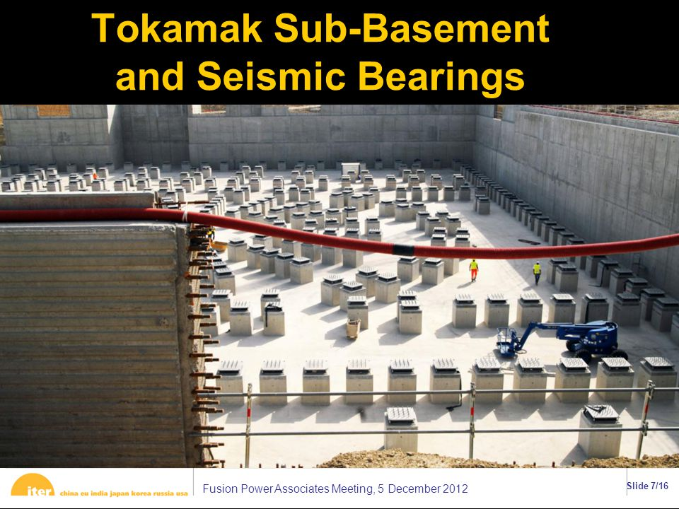 Fusion Power Associates Meeting, 5 December 2012 Slide 7/16 Tokamak Sub-Basement and Seismic Bearings ττ