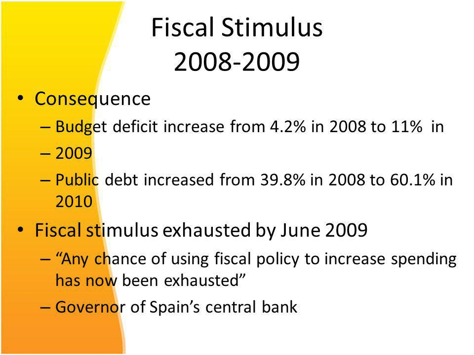 Fiscal Stimulus 2008-2009 Consequence – Budget deficit increase from 4.2% in 2008 to 11% in – 2009 – Public debt increased from 39.8% in 2008 to 60.1% in 2010 Fiscal stimulus exhausted by June 2009 – Any chance of using fiscal policy to increase spending has now been exhausted – Governor of Spains central bank