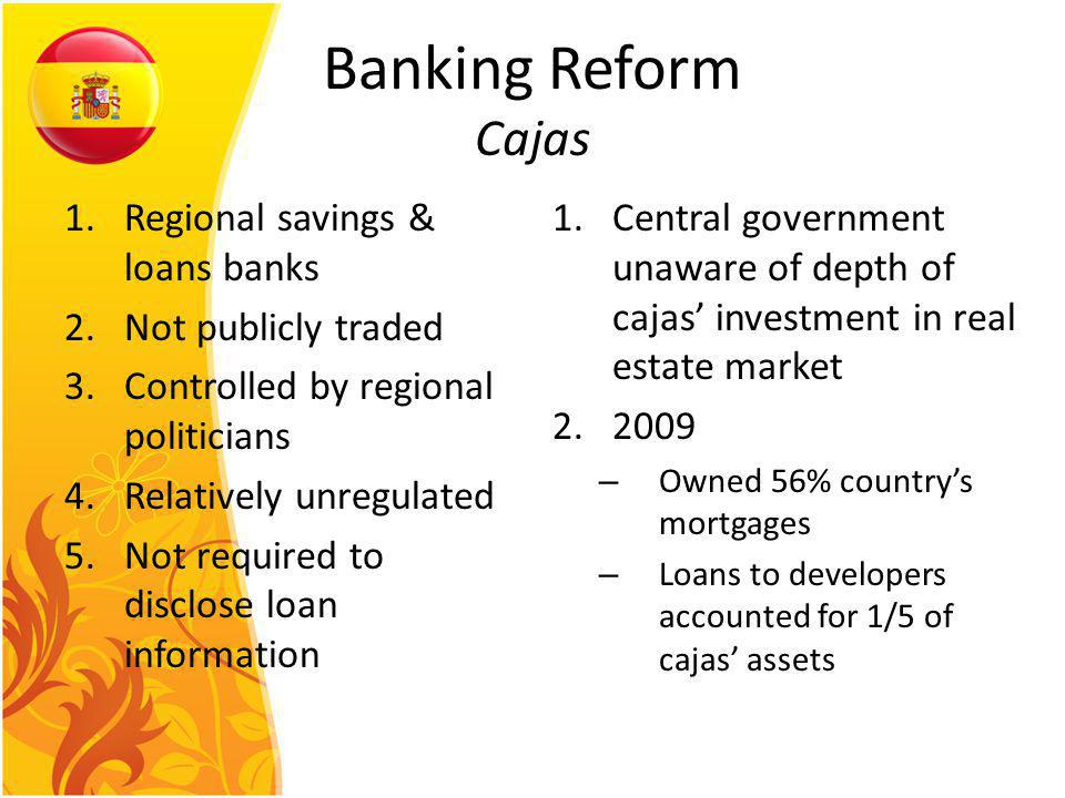Banking Reform Cajas 1.Regional savings & loans banks 2.Not publicly traded 3.Controlled by regional politicians 4.Relatively unregulated 5.Not required to disclose loan information 1.Central government unaware of depth of cajas investment in real estate market 2.2009 – Owned 56% countrys mortgages – Loans to developers accounted for 1/5 of cajas assets