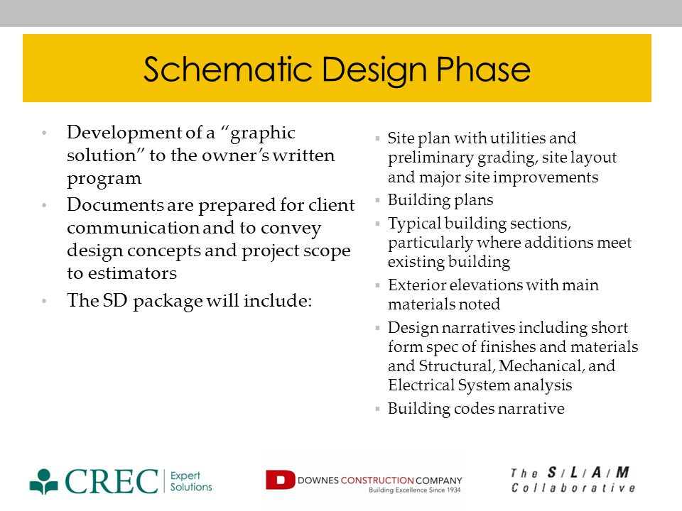 Design Development Phase To clearly illustrate the design intent of the project and to ensure that client goals, functional, and technical requirements have been met Documents are prepared for client communication and are used by contractor and design team for technical and regulatory milestones and to prepare the cost estimate The DD package will include: Phasing Plans Code drawings Site and Civil drawings showing layout, utilities, grading, Structural foundation and framing plans, typical sections Demolition plans Floor and Roof plans Reflected Ceiling plans Exterior Elevations Building sections and typical wall sections Door and window types Interior elevations at specialty spaces Plumbing, Mechanical, and Electrical plans including roof top equipment design Fire Protection plans, riser diagram, and fire pump design Short form or preliminary edits of final specs
