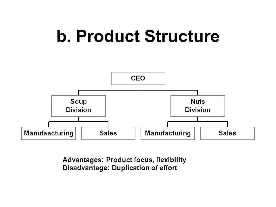 b. Product Structure Advantages: Product focus, flexibility Disadvantage: Duplication of effort