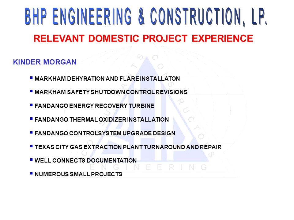 RELEVANT DOMESTIC PROJECT EXPERIENCE KINDER MORGAN MARKHAM DEHYRATION AND FLARE INSTALLATON MARKHAM SAFETY SHUTDOWN CONTROL REVISIONS FANDANGO ENERGY RECOVERY TURBINE FANDANGO THERMAL OXIDIZER INSTALLATION FANDANGO CONTROLSYSTEM UPGRADE DESIGN TEXAS CITY GAS EXTRACTION PLANT TURNAROUND AND REPAIR WELL CONNECTS DOCUMENTATION NUMEROUS SMALL PROJECTS