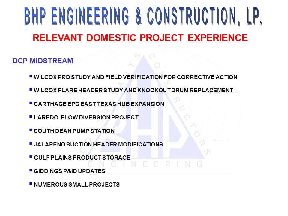 RELEVANT DOMESTIC PROJECT EXPERIENCE DCP MIDSTREAM WILCOX PRD STUDY AND FIELD VERIFICATION FOR CORRECTIVE ACTION WILCOX FLARE HEADER STUDY AND KNOCKOU