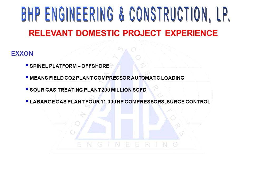 RELEVANT DOMESTIC PROJECT EXPERIENCE EXXON SPINEL PLATFORM – OFFSHORE MEANS FIELD CO2 PLANT COMPRESSOR AUTOMATIC LOADING SOUR GAS TREATING PLANT 200 MILLION SCFD LABARGE GAS PLANT FOUR 11,000 HP COMPRESSORS, SURGE CONTROL