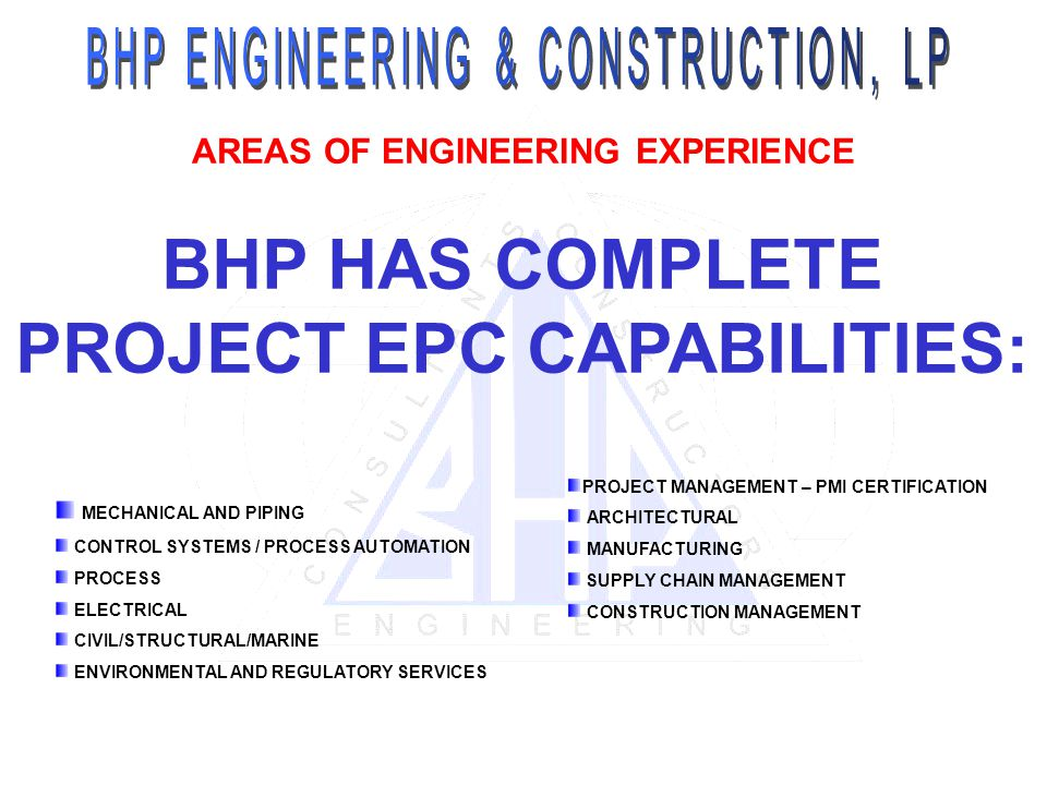 PROJECT MANAGEMENT – PMI CERTIFICATION ARCHITECTURAL MANUFACTURING SUPPLY CHAIN MANAGEMENT CONSTRUCTION MANAGEMENT AREAS OF ENGINEERING EXPERIENCE BHP HAS COMPLETE PROJECT EPC CAPABILITIES: MECHANICAL AND PIPING CONTROL SYSTEMS / PROCESS AUTOMATION PROCESS ELECTRICAL CIVIL/STRUCTURAL/MARINE ENVIRONMENTAL AND REGULATORY SERVICES