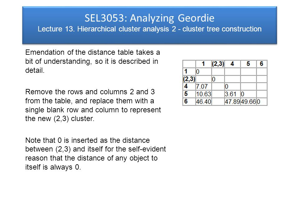 SEL3053: Analyzing Geordie Lecture 13.
