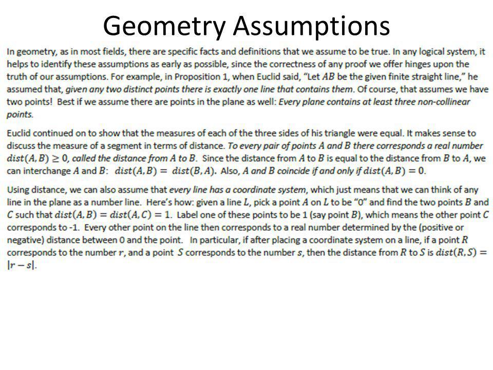 Geometry Assumptions
