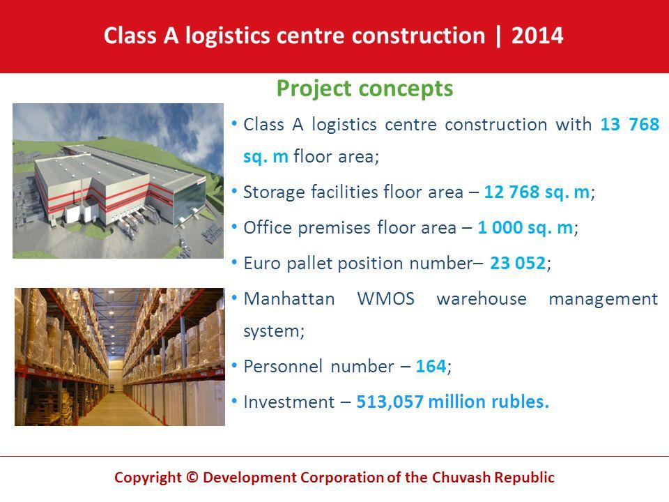 Copyright © Development Corporation of the Chuvash Republic Class A logistics centre construction | 2014 Project concepts Class A logistics centre con