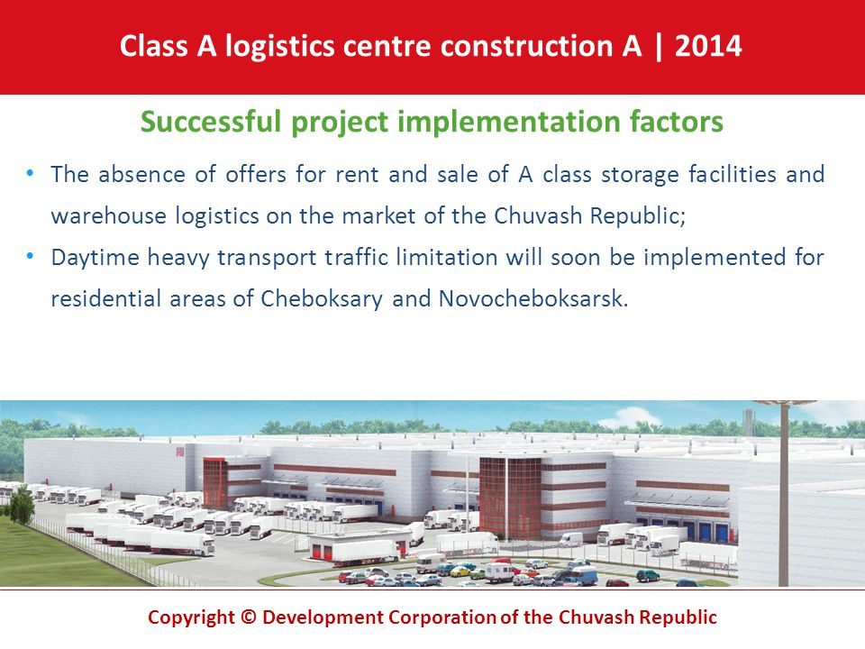 Copyright © Development Corporation of the Chuvash Republic Successful project implementation factors The absence of offers for rent and sale of A cla