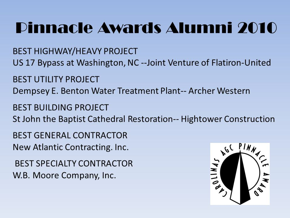 Pinnacle Awards Alumni 2010 BEST HIGHWAY/HEAVY PROJECT US 17 Bypass at Washington, NC --Joint Venture of Flatiron-United BEST UTILITY PROJECT Dempsey E.